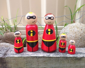 Incredibles family peg doll set