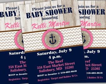 Nautical Baby Shower Invitation. Girl Baby Shower Invite.  Anchor Baby Shower. Girl Nautical Party. Girl Shower Invite BBNA01
