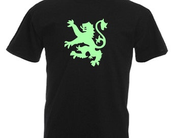 Scottish Lion Scotland Mens Glow In The Dark Adults Black T Shirt Sizes From Small - 3XL