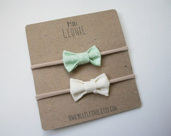Duo of headbands for baby / child nylon - earrings made of fabric and Merino Wool - white cream, mint green with polka dots