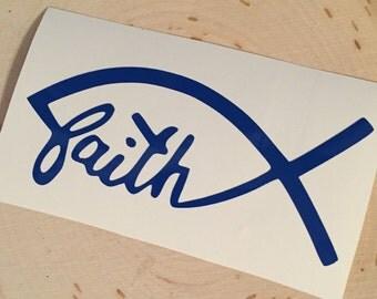 "Jesus Fish ""Faith"" Vinyl Decal"