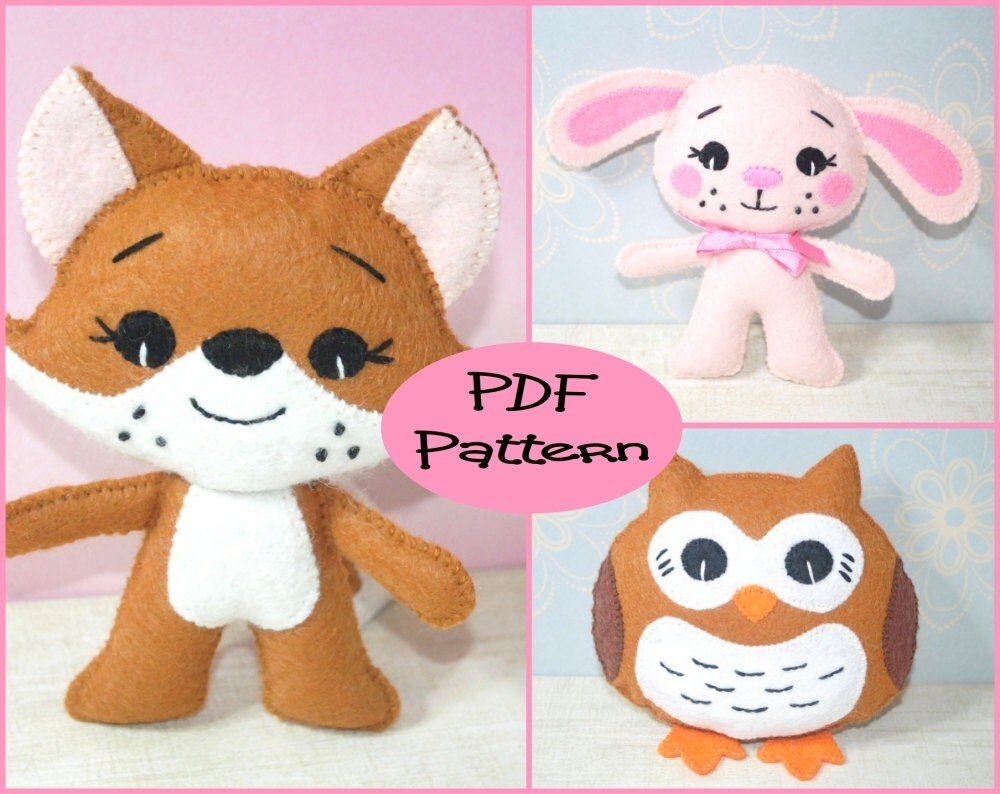 PDF Patterns Little Fox Little Bunny Owl Plush Felt Animal