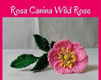 Crochet Rose Pattern, Crochet Flower Pattern, Rosa Canina Wild Rose, DIY Flowers, DIY bouquet, Wedding Flowers