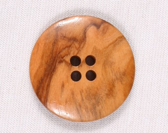 12 buttons 23mm, wood, Brown, beige, 4 holes (3957)