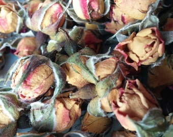 Dried Yellow Rosebuds:   .5 ounce