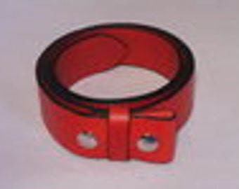 Red Leather Belt Strap with Snap On Press Stud Real Full Grain Italian Leather Handmade to Measure Waist Size Measurement Mens Womans