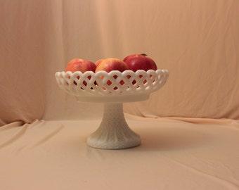 Vintage Milk Glass Lattice Pedestal Fruit Bowl