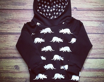 READY-to-go sweater hoodies for baby and child, pattern of dinosaurs and small Swiss cross black and white done by a MOM