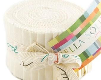 """SALE Bella Solids - Jr Jelly Roll - Moda - (20) 2.5"""" Strips - Cream #60"""