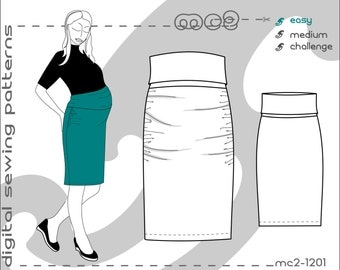 Maternity Skirt/ High-Waisted Bodycon Jersey (sizes: uk 10-20/ usa 6-16) Digital PDF Sewing Pattern for Women >mc2patterns< mc2-1201