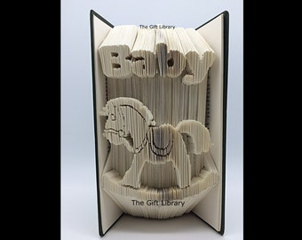 Baby Rocking Horse Folded Book Art-Home-Paper-Gift-Individually Crafted, New Born Baby, Birth, Mother to be