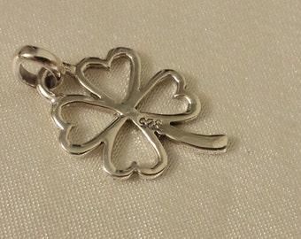 Four-Leaf Clover Pendant, shamrock, clover sterling silver pendant
