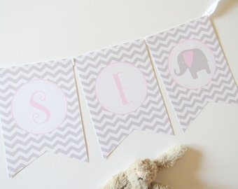 Pink/Grey Elephant Baby Shower Bunting, Christening, Nursery Decoration, New Baby Gift, First Birthday, Baby Shower, Baptism, Pink Party