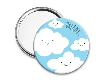Dreamy cloud mirror - Pocket mirror - Hand Mirror - Round mirror - Compact Mirror - Birthday gift