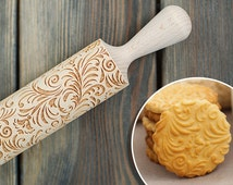 Flowers - Rolling pin, Cookie stamp, engraved floral pattern rolling pin, Embossing Rolling Pin