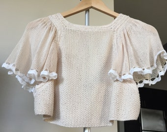 Ivory Color Handmade Crop Top (100% Viscose From Bamboo)