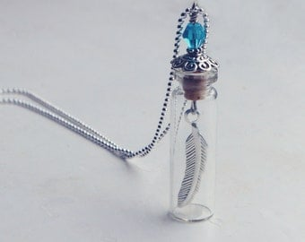 feather glass vial pendant