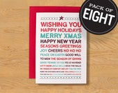 """Box of 8  """"Wishing You"""" Holiday Card A7"""