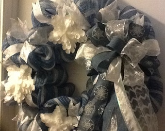 Beautiful winter mesh wreath