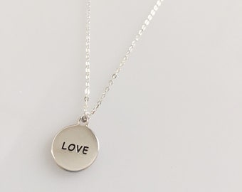 Love Disc Charm Necklace/ Circle Necklace Disk w Love Message / Dainty Suspended Disc Necklace / Circle Tag Sterling Silver