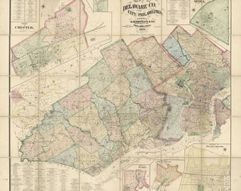 1876 Map of Delaware County PA and the city of Philadelphia