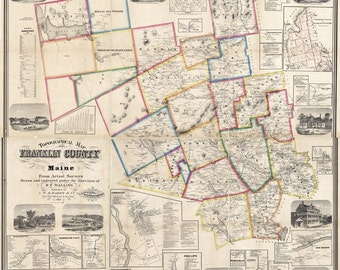 1861 Map of Franklin County Maine Farm Names