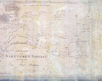 1791 Nautical Chart Map of Nantucket Shoals and Marthas Vineyard Massachusetts