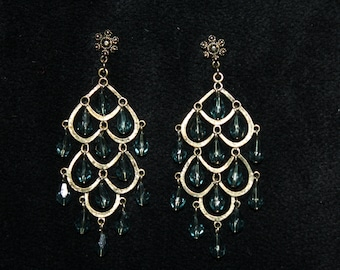 Blue and Gold Waterfall Earrings