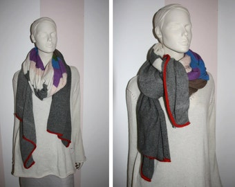 Cashmere scarf in grey with stripes