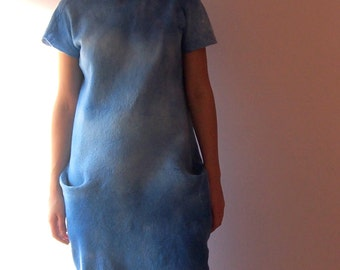 Blue dress | Felted dress | Wool and silk dress | Reversible dress