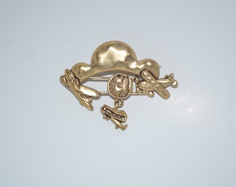 Vintage Gold Pewter Aviation Brooch
