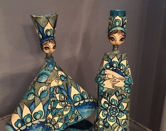 SOLD Valentine's Day  gift vintage 1960's hand painted paper mache candle sticks