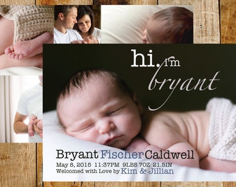 hi baby announcement | birth announcement | baby boy announcement | baby girl announcement | newborn