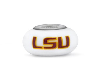 Louisiana State LSU Tigers Glass Bead Fits European Style Bracelets