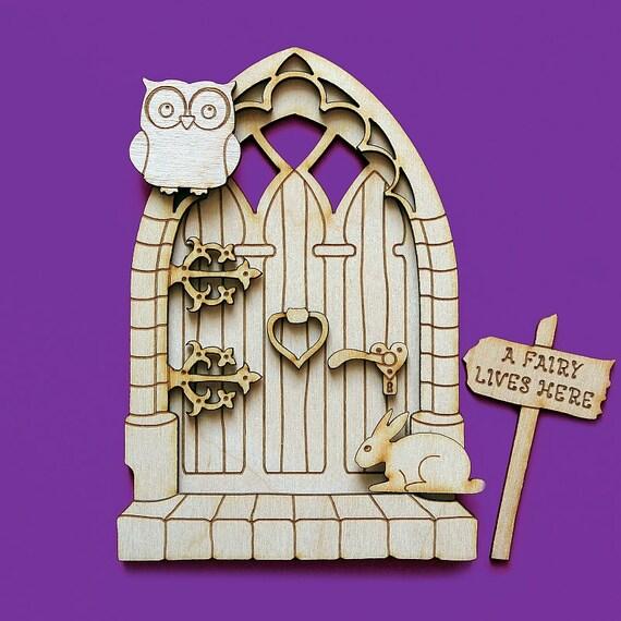 Fairy door 3d wooden elf owl moon stars hedgehog shapes pixie for Fairy door shapes