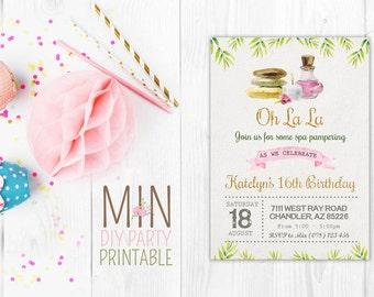 Watercolor spa Invite,Spa Birthday Invitation, Spa Birthday, Spa Invitation, Girls Birthday, Girls Spa Invitation, Girls Day Out