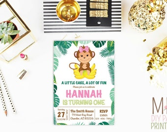 Little Monkey Girl Invitation_2,Monkey Birthday Invitation, Monkey Invitations, Jungle Birthday Invitation, Safari Invitation