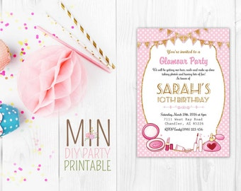 Glitter makeup invite_3,Make-up invitation, Spa party invitation, Makeup invitation, spa invite, glamour invite, glamour party