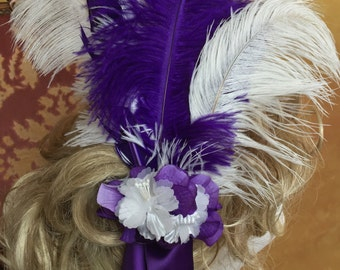 Feather & Silk Ribbon Hair Accessory