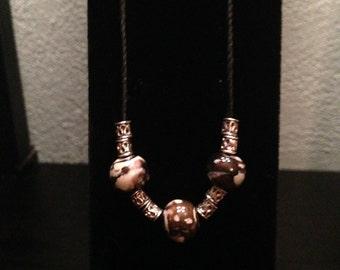 Glass bead hemp necklace