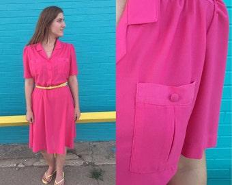 1970s hot pink shirtdress / 70s dress / vintage shirtdress / sears / large