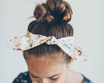 Bird Print Fabric Tie Headband