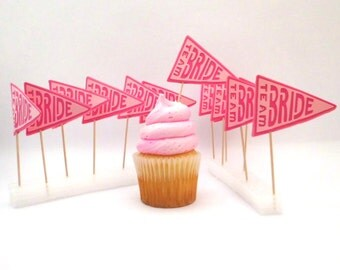 Team Bride Wedding Cupcake Toppers, Party Picks, Set of 12, Bridal Shower Party Decor, Wedding Party Appetizer Picks, TwoSistersGreetings