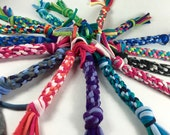 TWO Mini Size Rope Dog Toys in CUSTOM colors made from Upcycled T-shirts