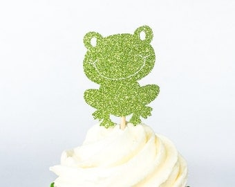 Glitter Frog Cupcake Toppers • Birthday Cupcake Topper • Baby Shower Cupcake Topper • Food Pick