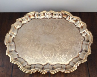"1960s FB Rogers #5737 Silverplate Hollowware 14.5"" Footed Serving Tray"
