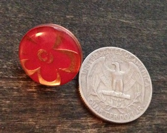 brooch, small red flower pin, floral pin, red pin, small pin, petite pin, 1960's brooch