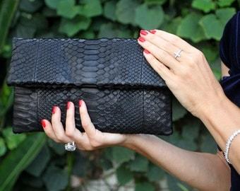 Black Leather Clutch | Python Clutch | Black Bag | Snakeskin Clutch | Evening bag | Leather Party Clutch