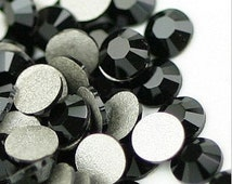 1440pcs Flat Back Crystal Rhinestones Jet Black wholesale loose flatback rhinestone glass crystals beads 2mm 3mm 4mm 5mm 6mm