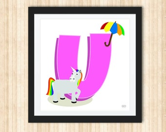 Pink Letter U with a Unicorn and a Colorful Umbrella